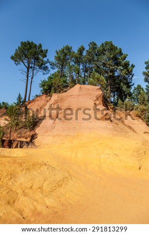 France - Roussillon, noted for its large ochre deposits found in the clay surrounding the village. - stock photo