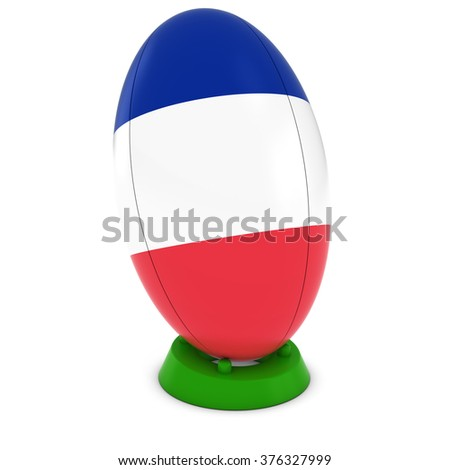 France Rugby - French Flag on Standing Rugby Ball - stock photo