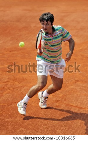 France's long time top tennis player Fabrice Santoro at Roland Garros - stock photo