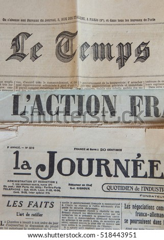 FRANCE - 20s of XX CENTURY: Headers headline three French tabloid newspapers of the 20s Twentieth Century  ( Le Temps, L´action francaise, La journee industrielle )