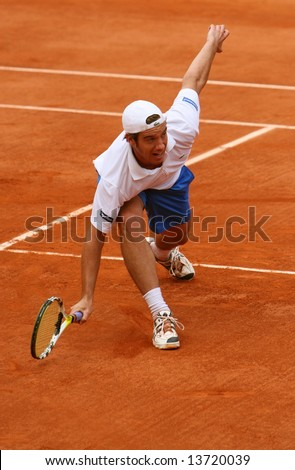 France's top tennis player Richard Gasquet plays at French Open (Roland Garros). Paris, France, 2008 - stock photo
