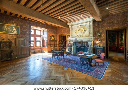 FRANCE - SEPTEMBER 23, 2013: Interior chateau de Azay-le-Rideau, France. This castle is located in the Loire Valley, was built from 1515 to 1527, one of the earliest French Renaissance chateaux. - stock photo