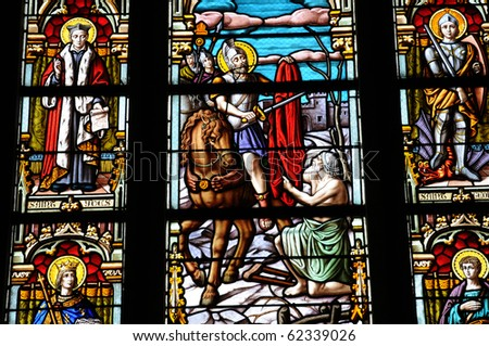 France, stained glass window of Batz sur Mer church in Brittany