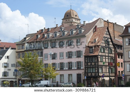 FRANCE, STRASBOURG - August 2, 2014: View of the house promenade Batele.
