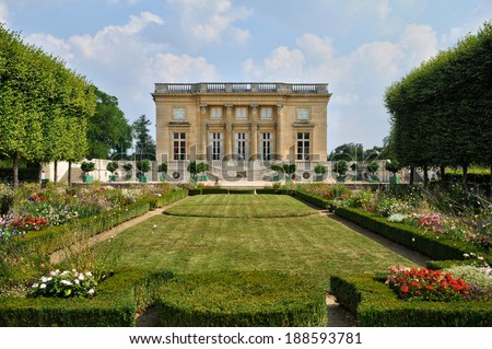 France, the Grand Trianon in the parc of Versailles Palace - stock photo