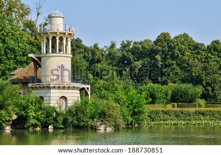 France, the Marlborough Tower in Marie Antoinette estate in the parc of Versailles Palace - stock photo