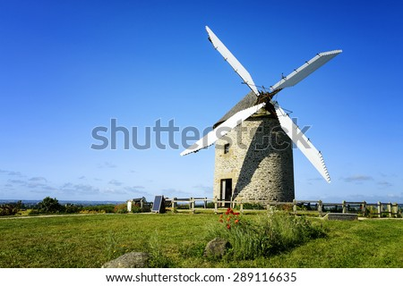 France, the Moidrey windmill in Pontorson in Normandie