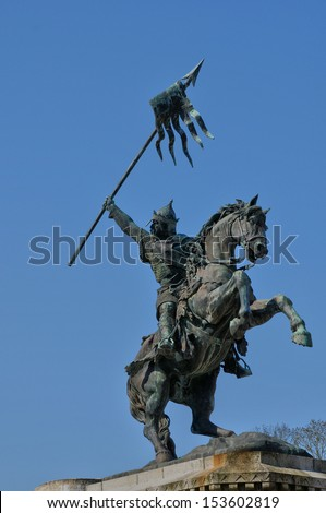 France, the William the Conqueror statue in Falaise in Normandie