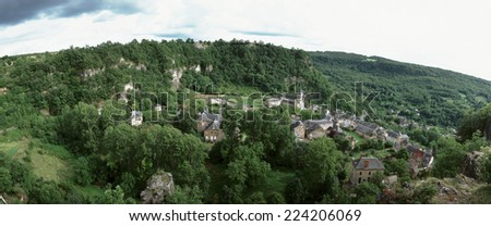 France, village, elevated view, panoramic view - stock photo