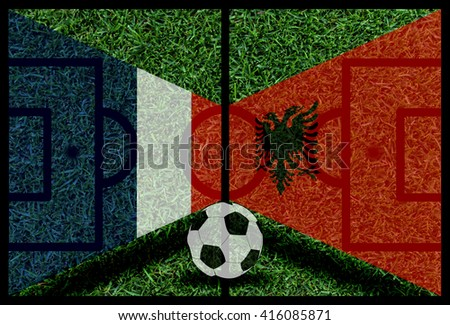 France vs Albania football flag background on green pitch 2016 - stock photo