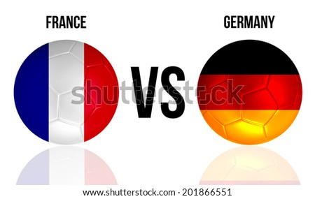 France VS Germany soccer ball concept isolated on white background with reflection - stock photo