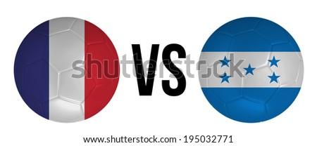 France VS Honduras soccer ball concept isolated on white background - stock photo