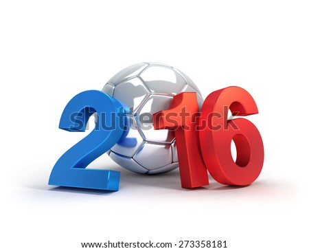 France 2016, year illustrated with a silver soccer ball, isolated on white - stock photo