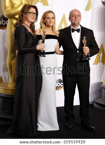 Frances Hannon, Mark Coulier and Reese Witherspoon at the 87th Annual Academy Awards - Press Room held at the Loews Hollywood Hotel in Los Angeles, USA on February 22, 2015. - stock photo