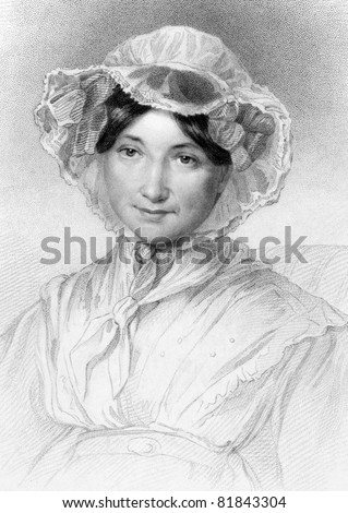 Frances Milton Trollope (1779-1863). Engraved by W.Holl and published in The National Portrait Gallery encyclopedia, United Kingdom, 1836. - stock photo
