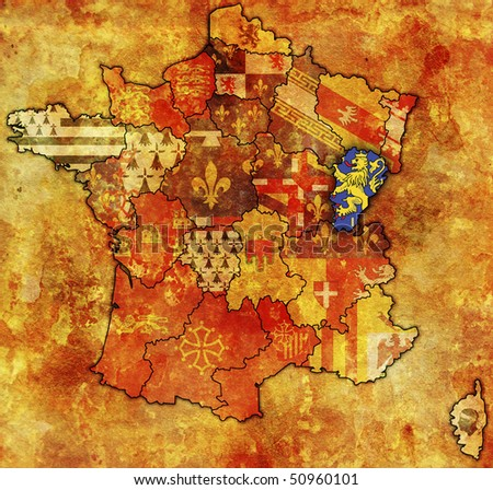Franche-Comte on old map of france with flags of administrative divisions