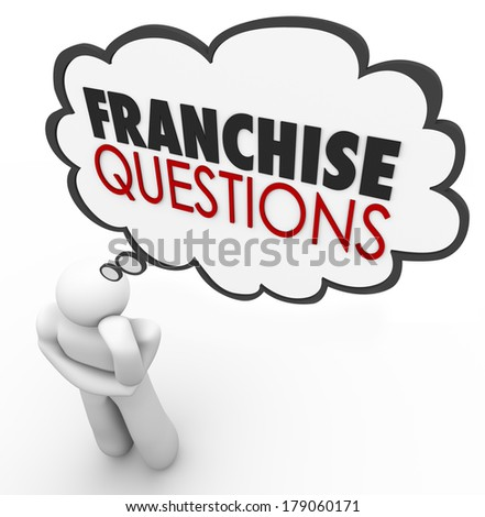 Franchise Questions Thought Cloud Chain Business Store Opportunity - stock photo