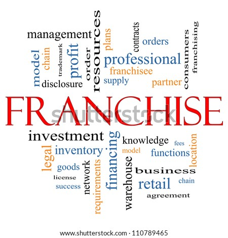 Franchise Word Cloud Concept with great terms such as agreement, model, network, professional, partner, chain, management and more - stock photo