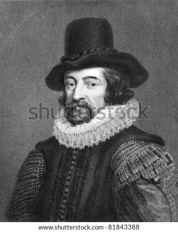 Francis Bacon (1561-1626). Engraved by J.Pofselwhite  and published in Lodge's British Portraits encyclopedia, United Kingdom, 1823. - stock photo