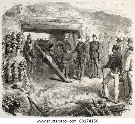 Francis II of the two Sicilies visiting a cannons battery, old illustration. Created by Janet-Lange, published on L'Illustration, Journal Universel, Paris, 1860
