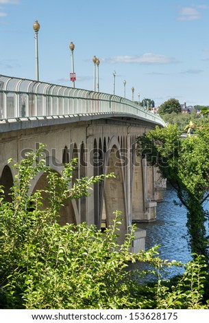 Francis Scott Key Memorial bridge crosses the Potomac river between Virginia and the Georgetown district of Washington DC - stock photo