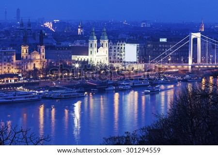 Franciscan Church and Greek Orthodox cathedral. Budapest, Hungary - stock photo