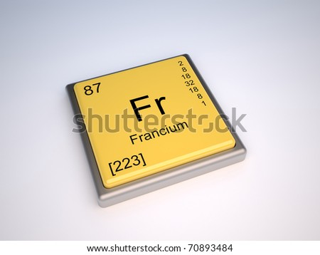 Francium chemical element of the periodic table with symbol Fr - IUPAC - stock photo