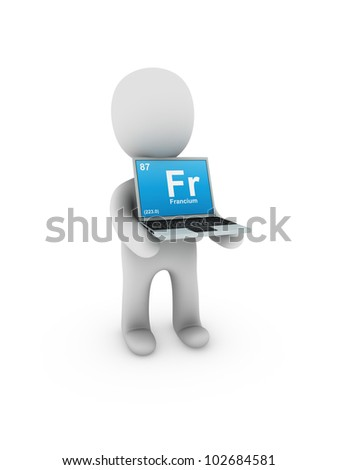 francium symbol on screen laptop