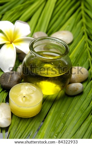 frangipani and massage oil with pebbles on palm