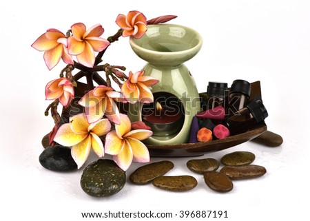 Frangipani essential oil, Plumeria (Frangipani) Benefit Make peace within Erotic (Spa & Aroma Therapy. Health care by using natural therapies). - stock photo