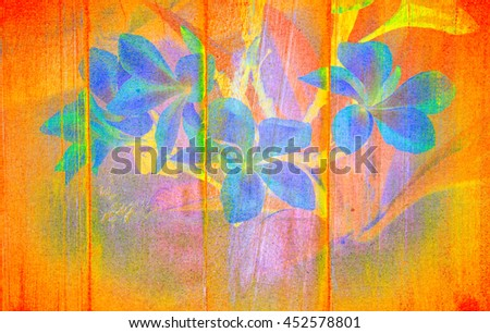 Frangipani Plumeria flowers border Design with texture wood and paper dot layer background.look old memories look old art memories color tone. - stock photo