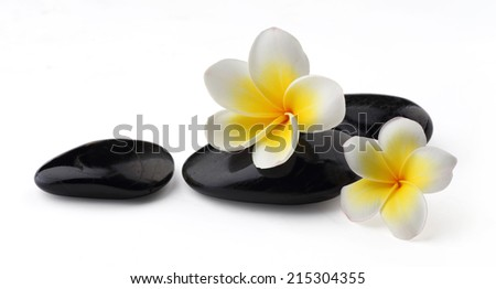 Frangipani with spa stones  - stock photo