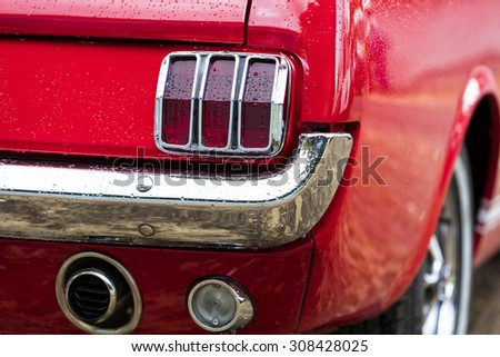 Franken, Germany, 21 June 2015: American vintage car, rear view of Ford Mustang - stock photo