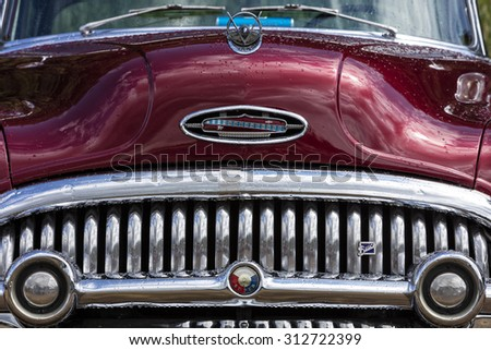 Franken, Germany, 21 June 2015: Front detail of a Buick vintage car - stock photo