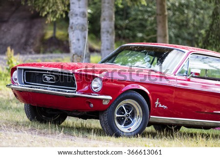 Franken, Germany, 21 June 2015: Front detail of a Ford Mustang vintage car - stock photo