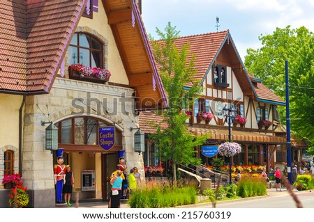 FRANKENMUTH, MI - JUNE 28, 2014: The Bavarian Inn, one of the main restaurants and attractions in this Michigan town, has brought throngs of visitors to sample German culture for decades. - stock photo