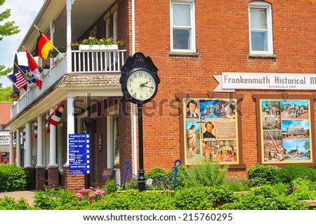 FRANKENMUTH, MI - JUNE 28, 2014: The Frankenmuth Historical Museum on Main St. is one of the many attractions of this German-American town that brings throngs of visitors every year. - stock photo