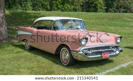 FRANKENMUTH, MI/USA - SEPTEMBER 5, 2014: A 1957 Chevrolet Bel Air car at the Frankenmuth Auto Fest.