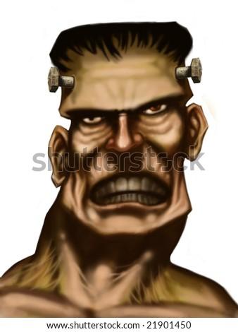 frankenstein head realist comic art - stock photo
