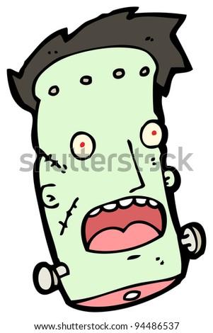 frankenstein monster head cartoon - stock photo
