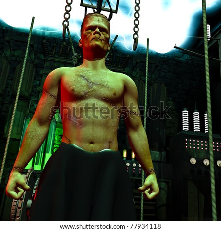 Frankenstein monster  up close. In the mad scientists laboratory. Lightning flashing across the ceiling conductors. Vintage lab electronic equipment, chains and lights in background. Illustration. - stock photo