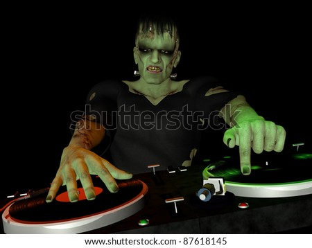 Frankenstein's Monster is in the House and mixing up some Halloween horror.  Turntables with vinyl albums.  Isolated black background. - stock photo