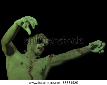 Frankenstein's Monster reaching out. Isolated on black background. - stock photo