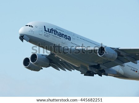 FRANKFURT AM MAIN AIRPORT - JUNE 20, 2016: Lufthanse Airbus A380 passenger plane is taking off.