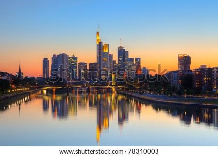 Frankfurt am Main at dusk - stock photo