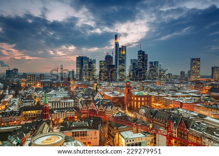 Frankfurt am Main at dusk, Germany - stock photo