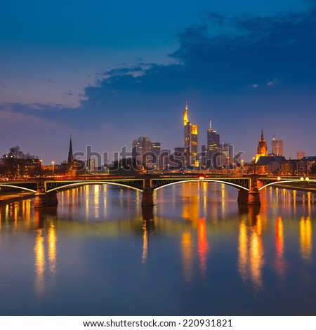 Frankfurt am Main at night, Germany - stock photo