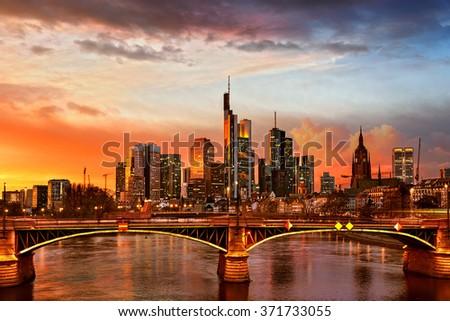 Frankfurt am Main at night, Germany - stock photo