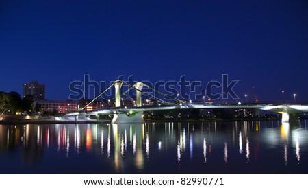 Frankfurt am Main, Bridge in Sachsenhausen at night! - stock photo