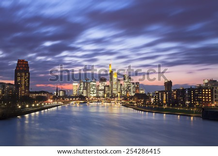 Frankfurt am Main city skyline night view - stock photo